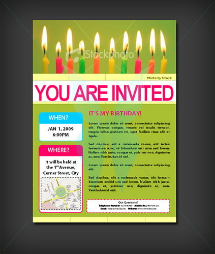 candle light birthday invitation templates