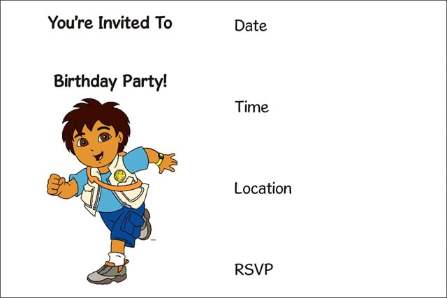 Diego Free Printable Birthday Invitations