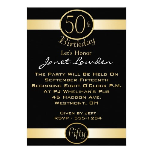 Classic 50th Birthday Party Invitations – Bagvania FREE Printable ...