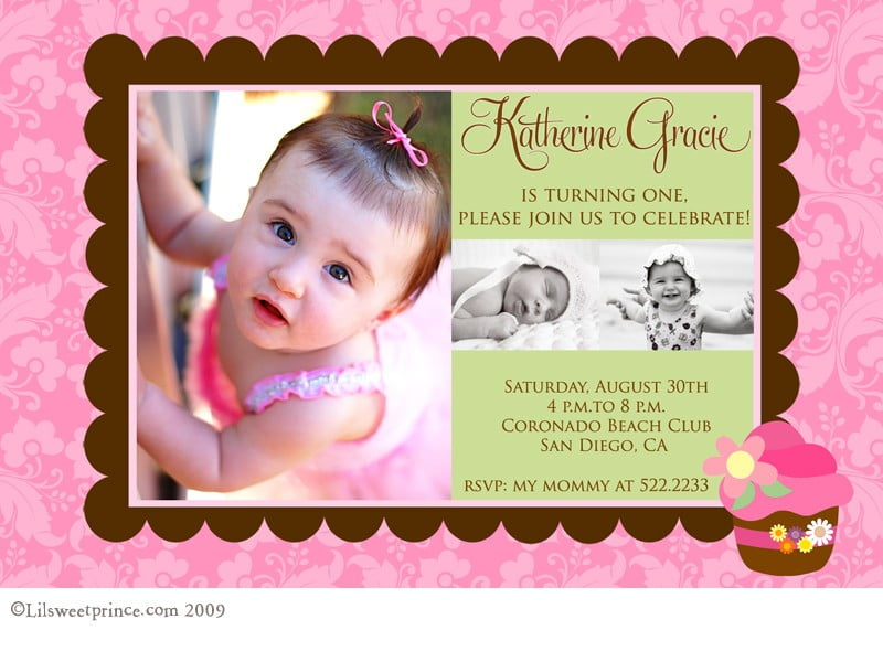 St Birthday Card Wording Gangcraftnet - Baby girl first birthday invitation ideas