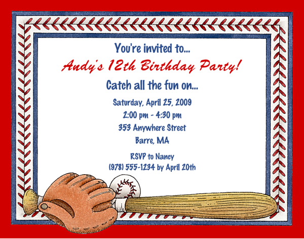 12th Baseball Party Invitation Ideas