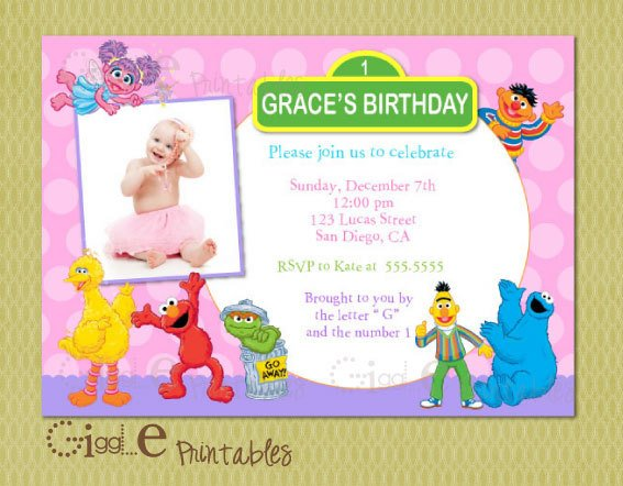 1st Sesame Street FREE Printable Birthday Invitation Templates