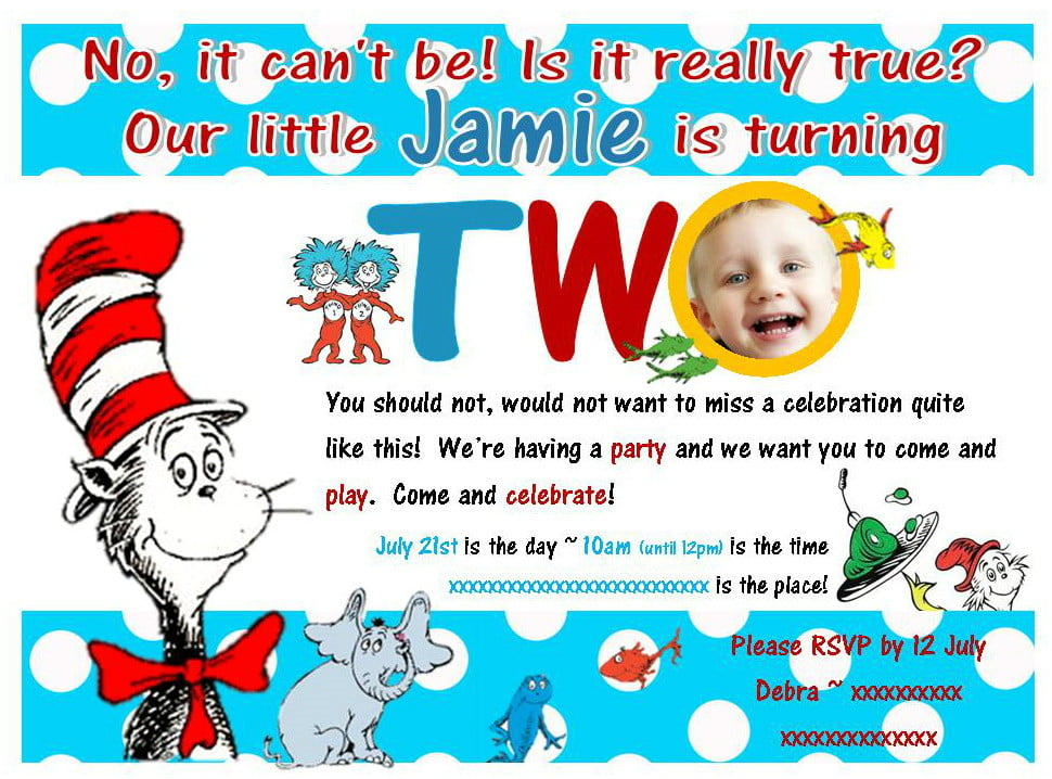 2nd Dr Seuss Birthday Invitations