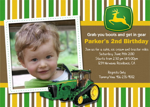 2nd John Deere Birthday Invitation