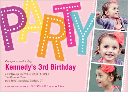3rd Glitter Girl Birthday Invitations