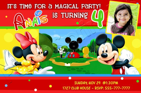 4th Mickey Mouse Clubhouse Birthday Invitations