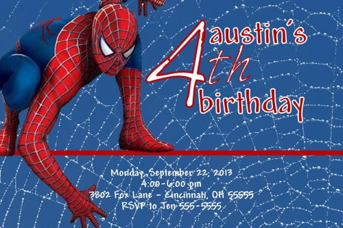 4th Spiderman Birthday Invitations