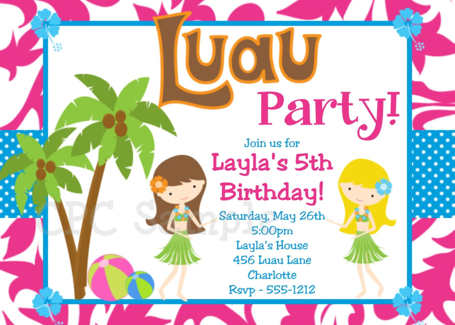 5th Luau Birthday Party Invitation Wording