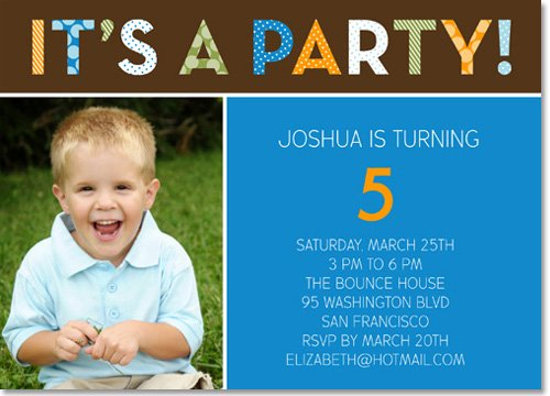 5th Photo Birthday Invitations Ideas