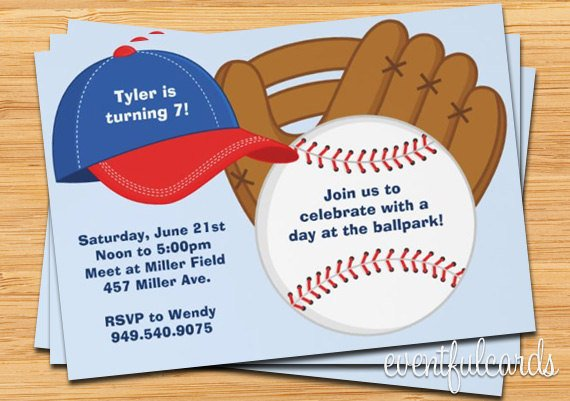 7th Baseball Party Invitation Ideas