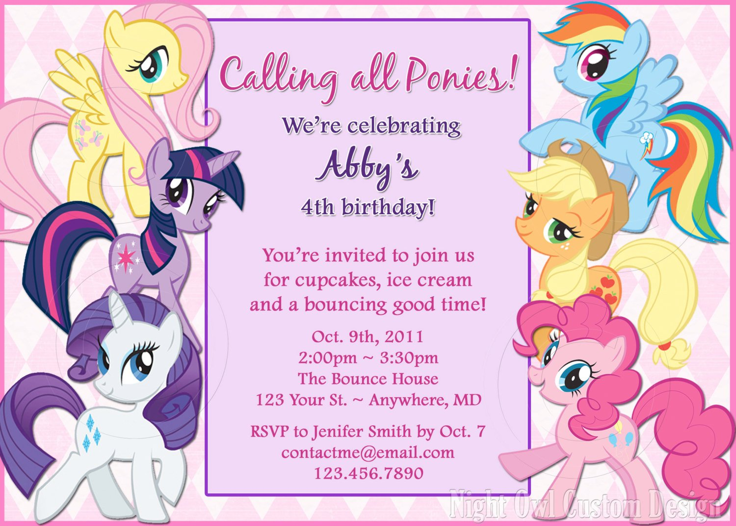 All Gang My Little Pony Bagvania FREE Printable Invitation Template – Little Girl Party Invitations