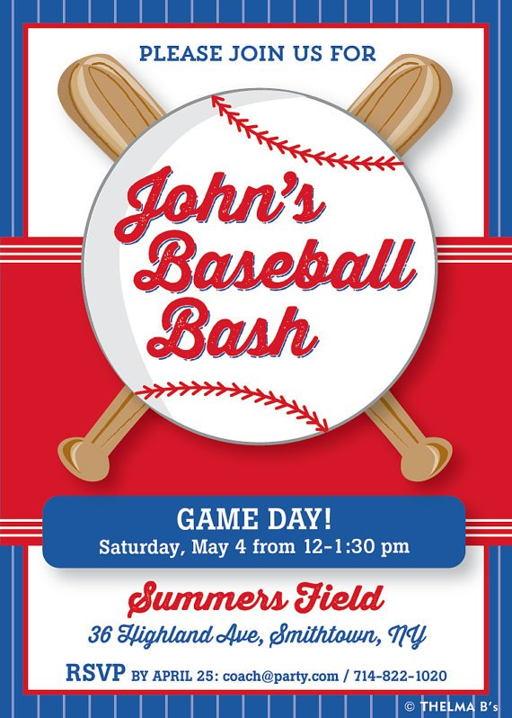 Ball Baseball Party Invitation Ideas