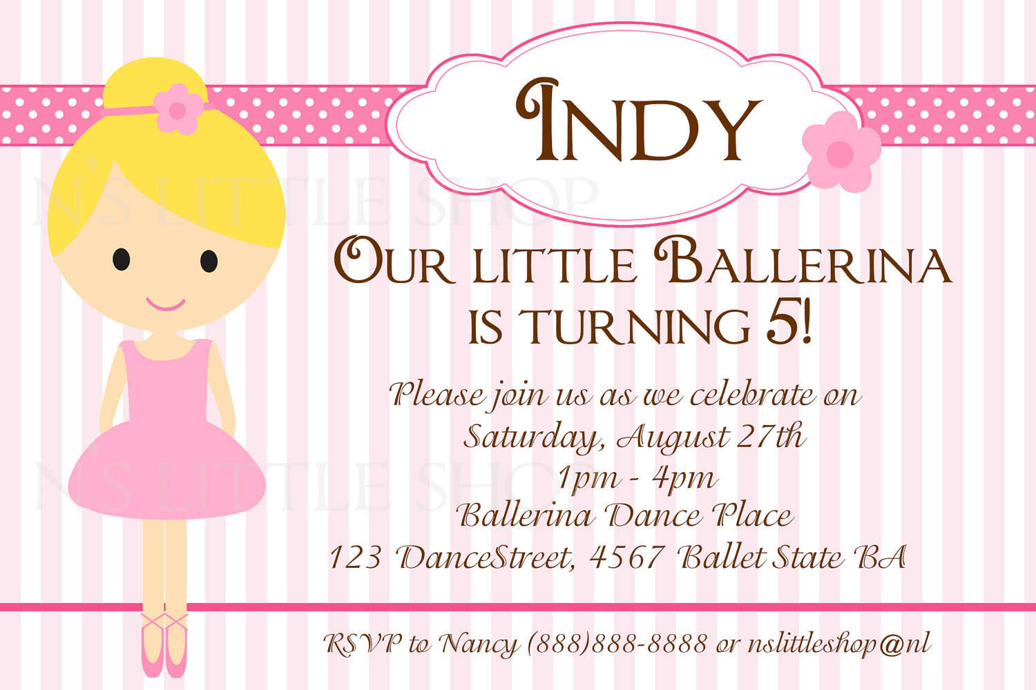 Ballerine Kids Birthday Invitations Ideas