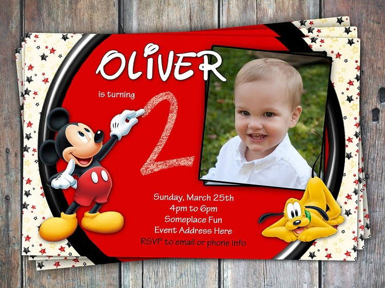 Big Red Mickey Mouse Clubhouse Birthday Invitations