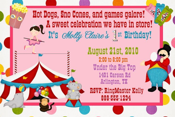 Birthday Invitations Ideas Big Tent Carnival