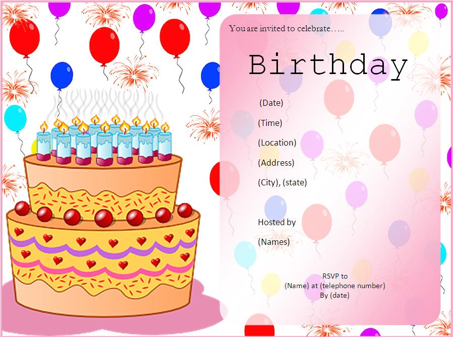 Cake Birthday Party Invitation Template