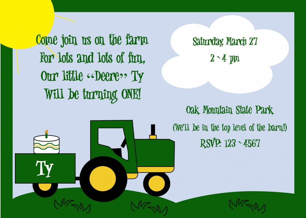 Cartoon John Deere Birthday Invitation