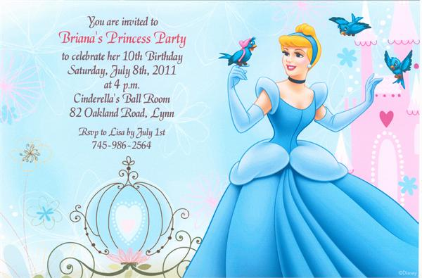 Disney princess birthday invitations ideas bagvania free for Cinderella invitation to the ball template