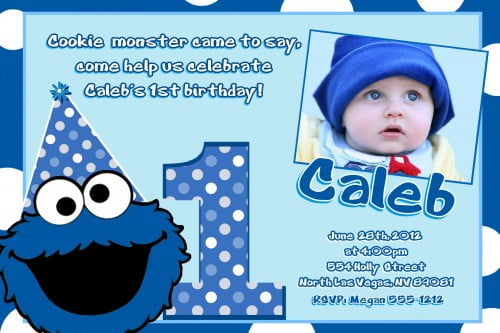 Cookie Monster 1st Birthday Invitation Wording Bagvania FREE