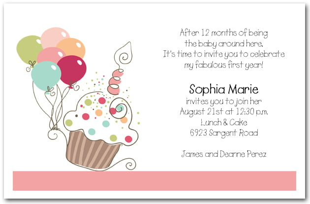 Cupcake Girl Birthday Invitations