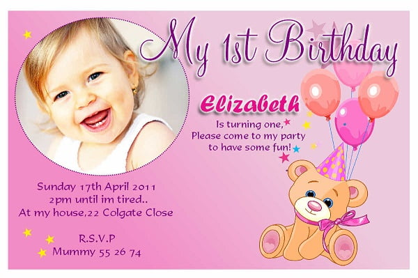 Cute First Birthday Invitation Wording Bagvania FREE Printable