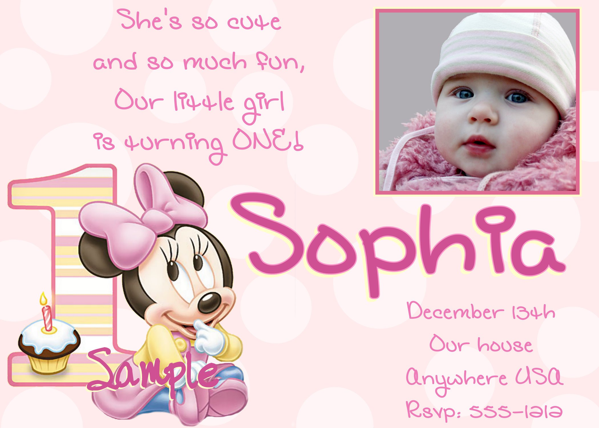 Minnie Mouse First Birthday Invitation 1st Girl. Cute Minnie Mouse 1st