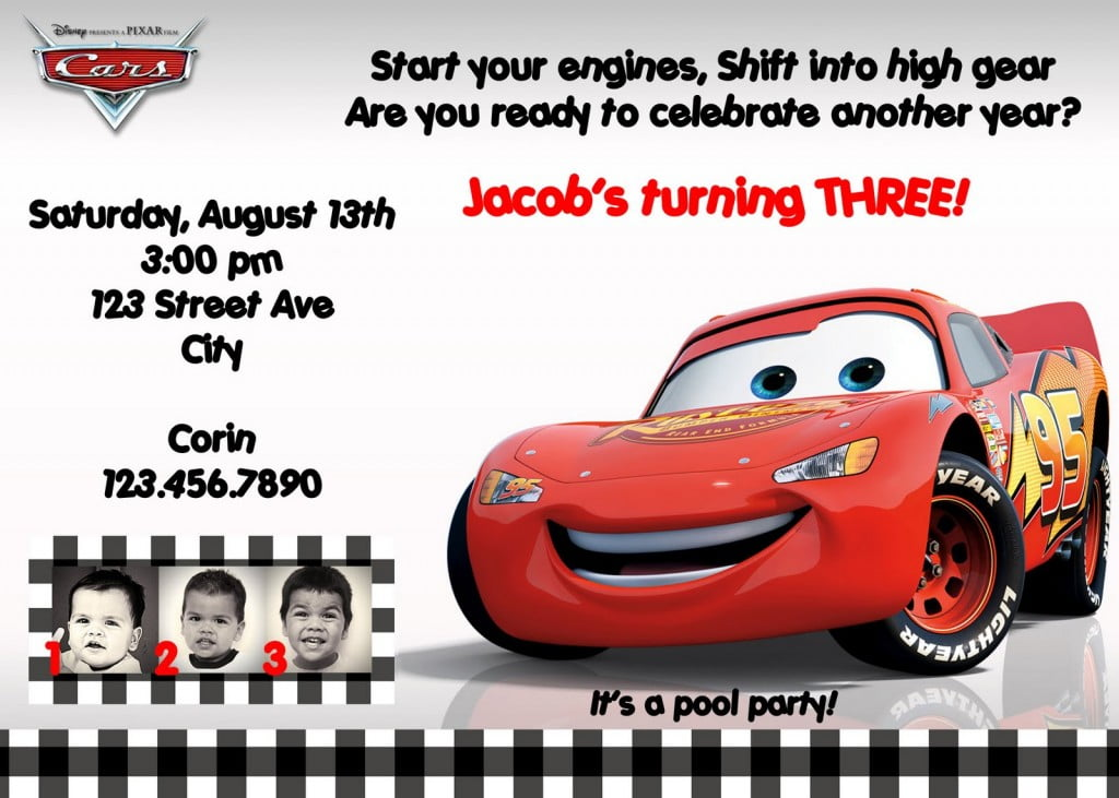 Disneys Cars Birthday Invitations