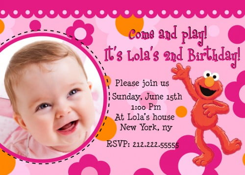 Elmo Birthday Invitations For Girls