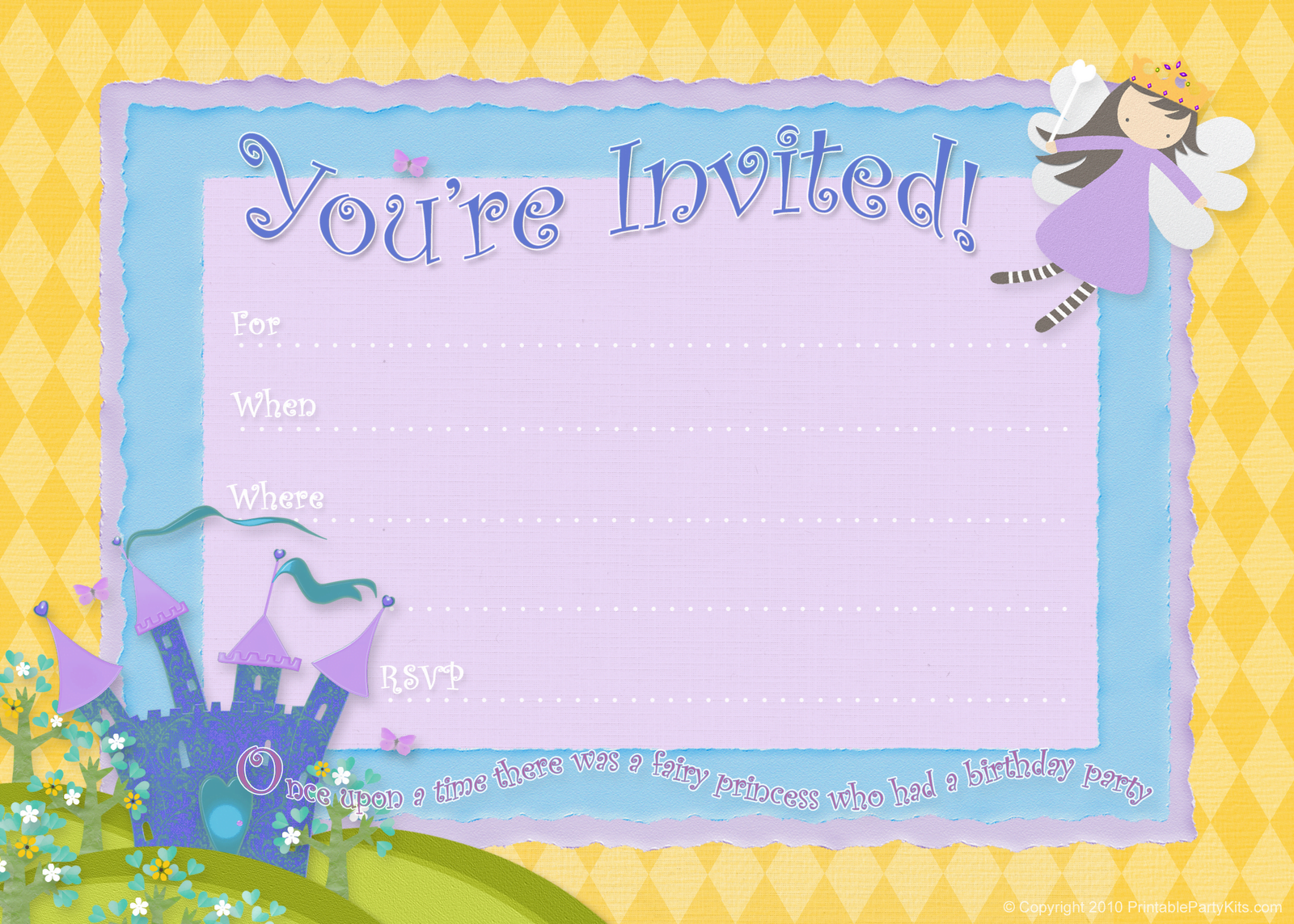 Fairy Free Birthday Party Invitations  Free Birthday Party Invitation Template