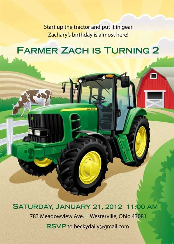 Farm John Deere Birthday Invitation