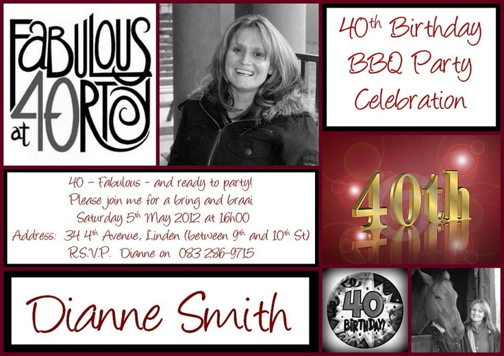 Girlie 40th Birthday Invitation Wording