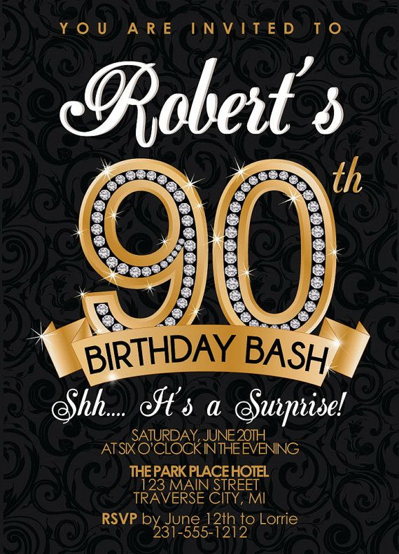 Golden 90th Birthday Invitations