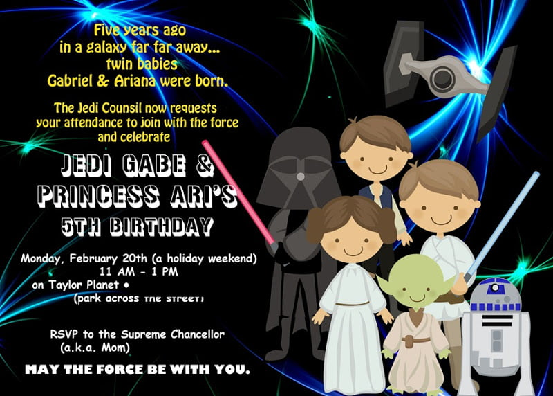 Jedi Star Wars Birthday Invitations