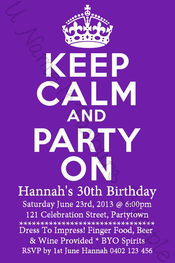 Birthday Invitations Ideas Keep Calm 30th