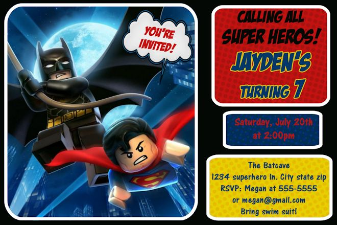 LEGO Batman Ideas Bagvania FREE Printable Invitation Template - Lego birthday invitation template free