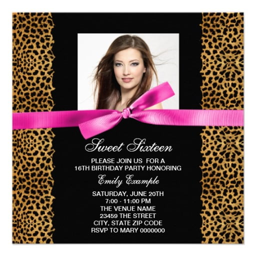 Leopard Sweet 16 Birthday Invitations Templates