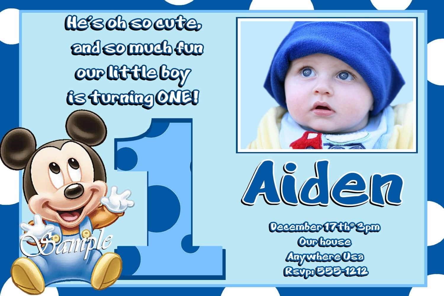 Mickey mouse 1st birthday invitation wording bagvania free mickey mouse 1st birthday invitation wording stopboris Images