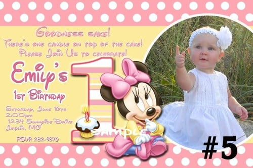 Minnie Mouse St Birthday Invitation Wording Bagvania FREE - Minnie mouse birthday invitation message