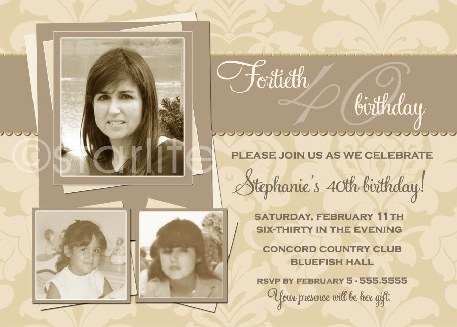 Now And Then 70th Birthday Invitations