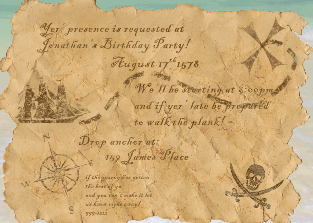 Pirate Birthday Invitations Ideas – Bagvania FREE ...