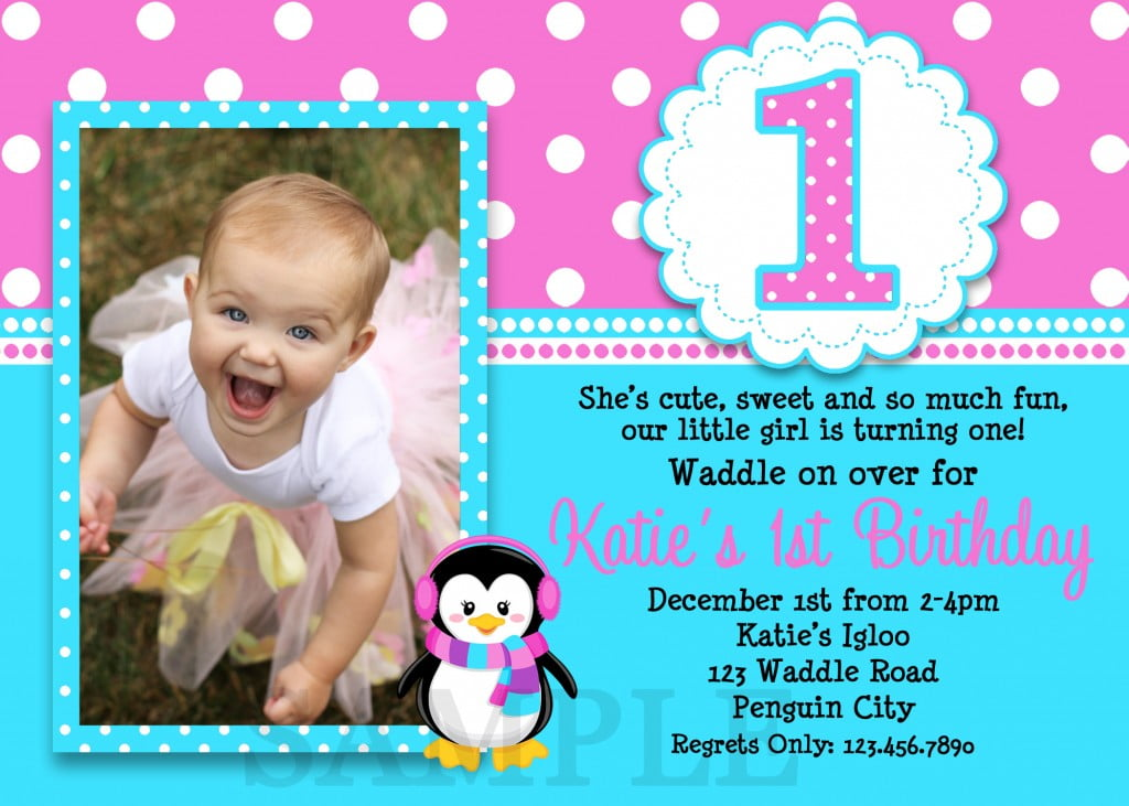 Penguin Girl Birthday Invitations