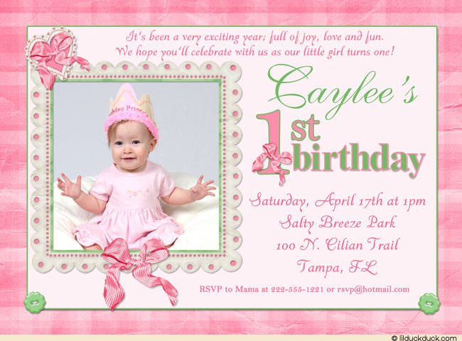 Pink 1st Birthday Invitation Wording Bagvania FREE Printable – Pink 1st Birthday Invitations
