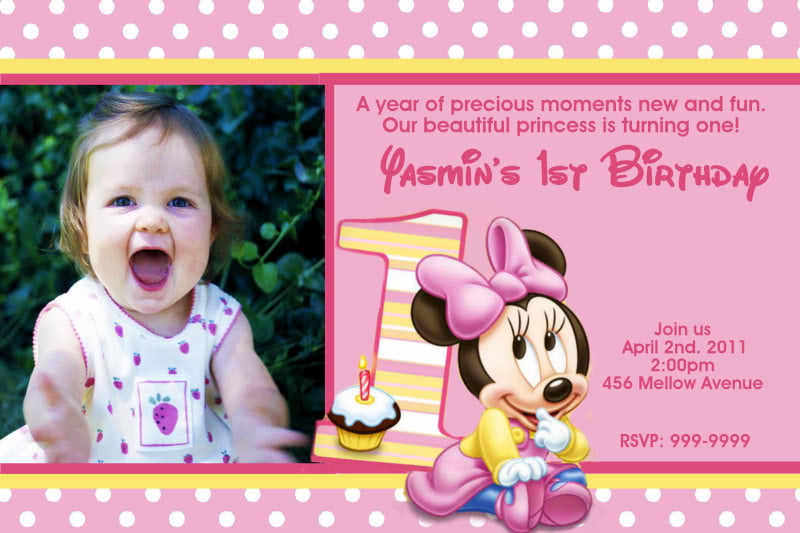 Pink Minnie Mouse 1st Birthday Invitations