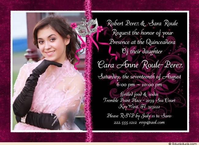 Pink and Black Photo Birthday Invitations Ideas