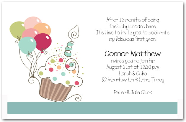 Poem First Birthday Invitation Wording