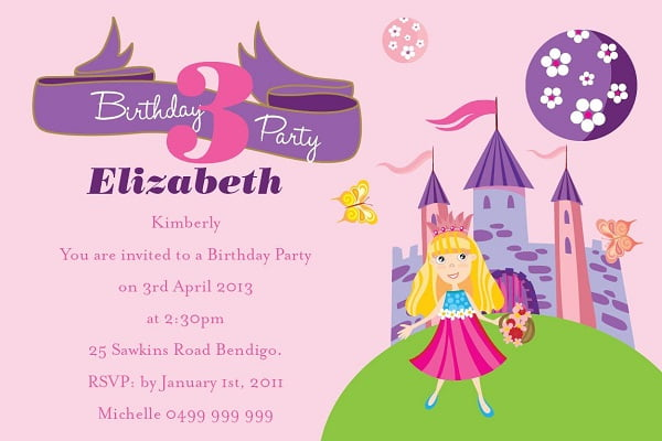 Princess Kids Birthday Invitations Ideas