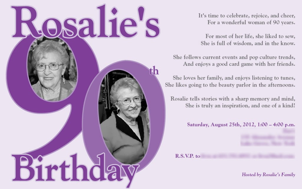 Purple 90th Birthday Invitations