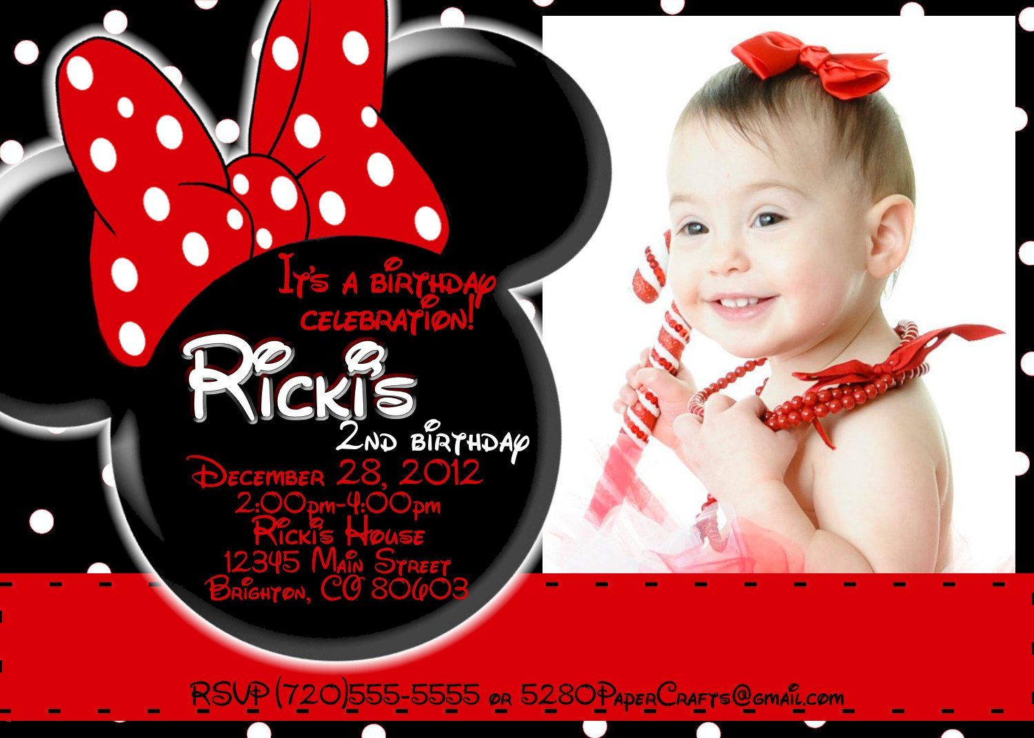 Red Minnie Mouse 1st – Bagvania FREE Printable Invitation Template