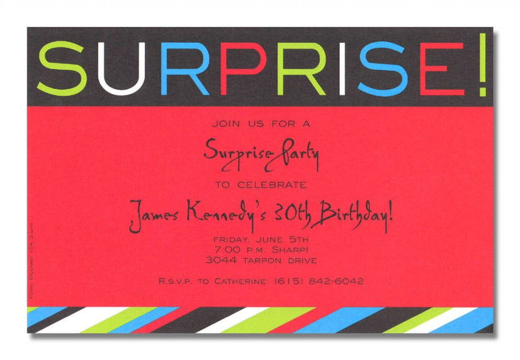Red Surprise Birthday Party Invitations