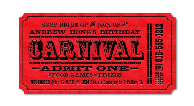 Red Ticket Carnival – Bagvania FREE Printable Invitation Template